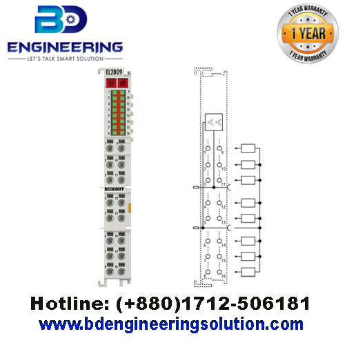 EL2809 HD EtherCAT Terminal, 16-channel digital output24 V DC, 0.5 A